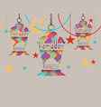 ramadan kareem greeting card three lanterns in vector image
