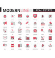 real estate flat line icon set vector image