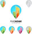real estate logo home house logo pin home logo vector image