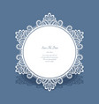 round lace frame save the date card vector image vector image