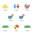shiny real estate icons vector image vector image