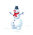 snowman in bucket hat and red scarf isolated vector image vector image