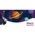spaceship in space galaxy with planetsstars vector image vector image