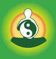 Symbol Yin Yan in hands of the person vector image vector image