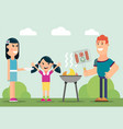 the family cooks meat on grill vector image