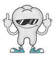 tooth with sunglasses giving middle fingers vector image