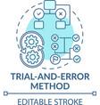 trial and error method blue concept icon vector image vector image