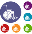 wheelchair icons set vector image vector image