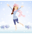 Winter jumping girl