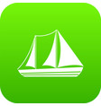 yacht icon digital green vector image vector image