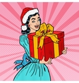Pop Art Happy Woman Holding Christmas Gift Box vector image