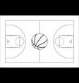 basketball court basketball ball top view vector image
