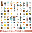 100 apartment mastery icons set flat style vector image