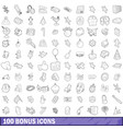 100 bonus icons set outline style vector image vector image