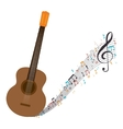 acoustic guitar with musical notes vector image vector image