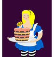 Alice in Wonderland Cake eat me Fat and old vector image vector image