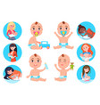 baby and breast feeding set vector image vector image