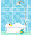 bathtub with foam shampoo rubber duck on blue vector image