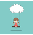 Cartoon girl swinging on a cloud drawing by hand vector image vector image