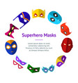 cartoon superhero mask banner card circle vector image