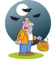 Cartoon Zombie in the Moonlight vector image