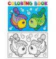 coloring book with fish theme 2 vector image vector image