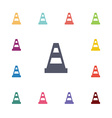 cone flat icons set vector image vector image