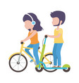 couple riding bike and electric scooter cartoon vector image