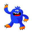 cute roaring monster with funny face fangs blue vector image