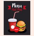 delicious big burger fast food menu card vector image vector image