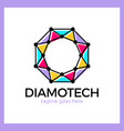 diamond line connect dots tech logotype top view vector image vector image