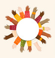 diverse young people hands white circle template vector image