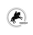 equestrian sport club logo template with jumping vector image