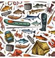 fishing rod fish fisherman boat seamless pattern vector image vector image