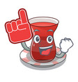 foam finger tea turkish on the with mascot vector image