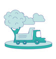 full color dump truck in the city with clouds and vector image