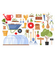 garden tools with flowers vector image vector image