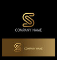 gold letter s line logo vector image vector image