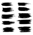 grunge ink brush strokes set freehand black vector image vector image
