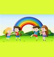 happy children dancing in park vector image