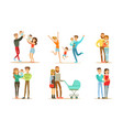 happy families set smiling mother father vector image vector image