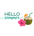 hello summer text with green coconut drink and vector image