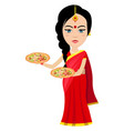 indian woman with pizza on white background vector image vector image