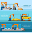 industrial automated manufacturing banners vector image vector image