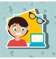kid with laptop computer and glasses isolated vector image