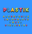 kids plastic cartoon font colorful comics font vector image