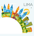 lima peru city skyline with color buildings blue vector image vector image