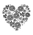 monochrome silhouette vintage heart with pattern vector image vector image