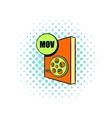 MOV file icon in comics style vector image vector image