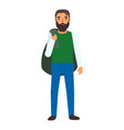 muslim man refugee icon flat style vector image vector image